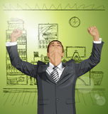 Vector Businessman With Hands Up Royalty Free Stock Images