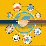 Vector Businessman handshake communications worldwide Stock Image