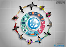 Vector businessman handshake with success. icon, world, flat design royalty free illustration