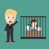 Vector of Businessman has control by boss Royalty Free Stock Images