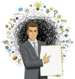 Vector businessman holding empty write board Royalty Free Stock Photo