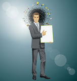 Vector businessman holding empty write board Stock Photography