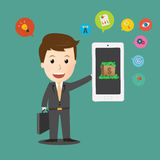 Vector of Businessman holding smart phone with Business icon Royalty Free Stock Photography
