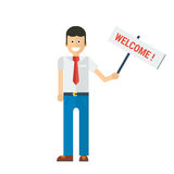 Vector businessman holding welcome sign in hand Royalty Free Stock Photos