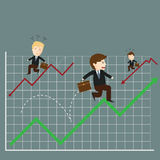 Vector of businessman jump over growing chart Stock Photo