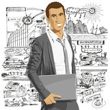 Vector Businessman With Laptop Royalty Free Stock Images
