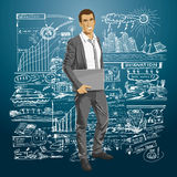 Vector Businessman With Laptop Royalty Free Stock Image