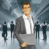 Vector Businessman With Laptop Royalty Free Stock Photography