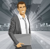 Vector Businessman With Laptop Stock Photo