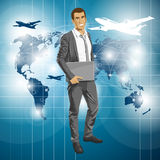 Vector Businessman With Laptop Stock Photography