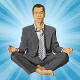 Vector Businessman in Lotus Pose Meditating Stock Image