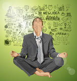 Vector Businessman in Lotus Pose Meditating Royalty Free Stock Photo