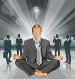 Vector Businessman in Lotus Pose Meditating Stock Images