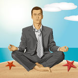 Vector Businessman in Lotus Pose Meditating Royalty Free Stock Photography