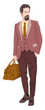 Vector of businessman with luggage. Stock Images