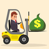 Vector businessman or manager driving a forklift. truck with money. Flat stock illustration. loader Royalty Free Stock Image