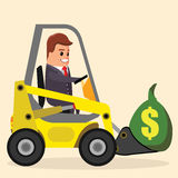 Vector businessman or manager driving a loader. truck with money. Flat stock illustration.   . Royalty Free Stock Image