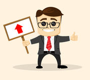 Vector businessman or manager holds a plate. Man in business suit.  Royalty Free Stock Image