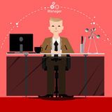 Vector the businessman manager thinks the work to wide world with work places and paper front view Stock Image