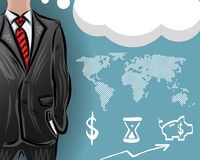 Vector businessman with a map and financial icons. Businessman with a map and financial icons, vector illustration for your design, EPS10 Stock Photography