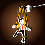 Vector of Businessman marionette on noodle controlled by fork Royalty Free Stock Photos