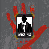 Vector -The Businessman missing announce on wall gray background Stock Photography