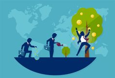 Vector of a businessman planting a money tree. Concept of financial wisdom Stock Photography