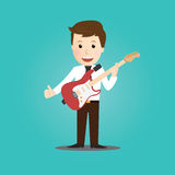 Vector of Businessman play guitar. Royalty Free Stock Image