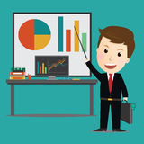 Vector of Businessman point on investment graph presentation. Stock Images