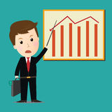Vector of Businessman point on investment graph presentation. Royalty Free Stock Photos