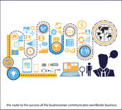 Vector businessman route communicates world class for succeed. With business icons stock illustration