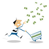 Vector businessman running with shopping cart,  to grab the money. Vector cartoon businessman running with shopping cart .Happy businessman to grab the money in Stock Image