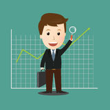 Vector of Businessman search for good investment Royalty Free Stock Image