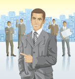 Vector businessman and silhouettes of business people Stock Images