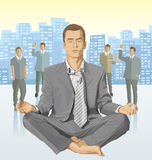 Vector businessman and silhouettes of business people Stock Image