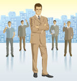 Vector businessman and silhouettes of business people Royalty Free Stock Images