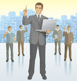 Vector businessman and silhouettes of business people Stock Photo