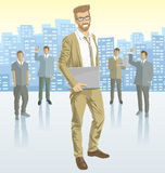 Vector businessman and silhouettes of business people Royalty Free Stock Photo