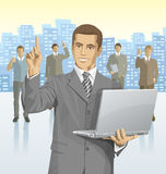 Vector businessman and silhouettes of business people Royalty Free Stock Photography