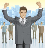 Vector businessman and silhouettes of business people Stock Photos