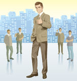 Vector businessman and silhouettes of business people Royalty Free Stock Photos