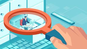Vector of a businessman sitting inside closet compartment box being surveyed by a boss. Isometric concept of human resources database and quality control. Vector stock illustration