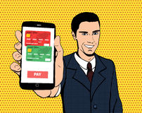 Vector businessman with a smartphone. In pop art style. Close-up view of a phone screen with running payment application. Concept of e-commerce and mobile Stock Photo