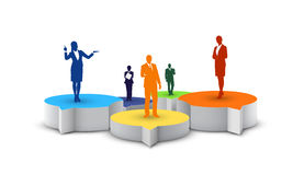 Vector businessman on the stage. Business people standing on speech bubbles Royalty Free Stock Photo