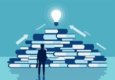 Vector of a businessman standing in front of a pile of books vector illustration