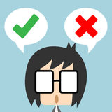Vector businessman standing with speech bubble, making decision between right or wrong represent with checkmark and cross symbol. Great for any use Stock Photography