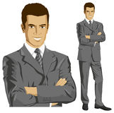 Vector Businessman In Suit. Vector business man in suit with folded hands. All layers well organised and easy to edit Royalty Free Stock Photo