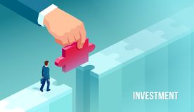 Vector of a businessman supported by unknown investor giving him opportunity making bridge with jigsaw puzzle. Vector of a small businessman supported by unknown stock illustration