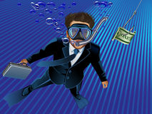 Vector Businessman takes the bait to the hook Royalty Free Stock Photo