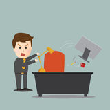 Vector of businessman toss away his computer Royalty Free Stock Photo